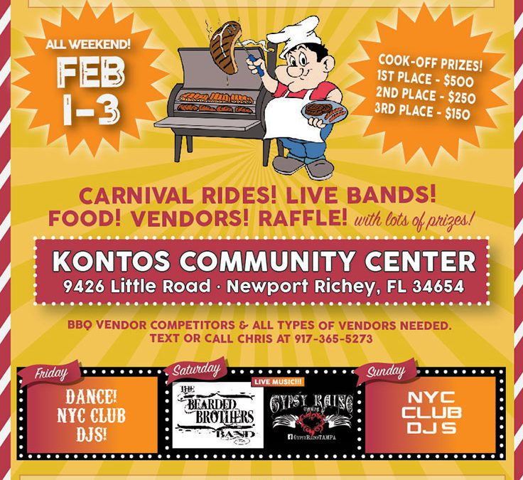Kontos Community Center BBQ-Cookoff Event Flier